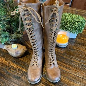 Shoes - Lace Tie Up Boots Equestrian Look Brown Zipper